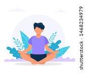 man meditating in nature.... | Shutterstock .eps vector #1468234979