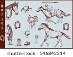 set of horses and horse riding... | Shutterstock .eps vector #146842214