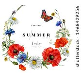 Watercolor Floral Wreath Of Red ...