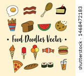 simple food doodles  colorful... | Shutterstock .eps vector #1468472183