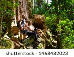 Couple exploring in the lush Lamington National Park, Queensland, Australia