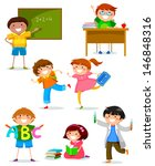 set of kids at school | Shutterstock .eps vector #146848316
