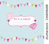 baby girl shower card with... | Shutterstock .eps vector #146848688