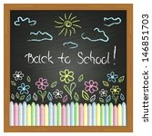 drawing on the blackboard and... | Shutterstock .eps vector #146851703