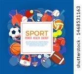 banner of sport balls and... | Shutterstock . vector #1468531163
