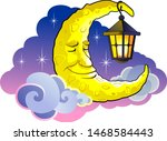 sleeping moon with a lantern.... | Shutterstock .eps vector #1468584443