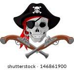 pirate skull and crossed guns   Shutterstock .eps vector #146861900