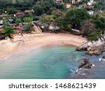 Beautiful aerial view froma a drone of Curral Beach in Ilhabela, Brazil.