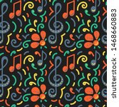 seamless pattern. doodle vector ... | Shutterstock .eps vector #1468660883
