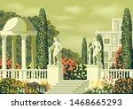 flower garden near a country... | Shutterstock .eps vector #1468665293