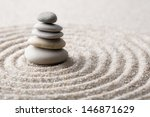Stock photo japanese zen garden meditation stone for concentration and relaxation sand and rock for harmony and 146871629