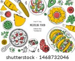 mexican food top view frame. a... | Shutterstock .eps vector #1468732046