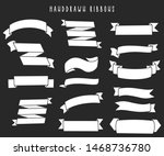 set of hand drawn ribbons  ... | Shutterstock .eps vector #1468736780
