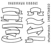 set of hand drawn ribbons  ... | Shutterstock .eps vector #1468736810