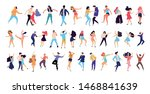 crowd of young people dancing... | Shutterstock .eps vector #1468841639
