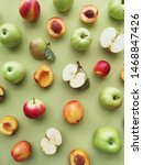 green apples and peaches on a... | Shutterstock . vector #1468847426