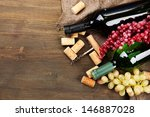 bottles of wine  grapes and... | Shutterstock . vector #146887028