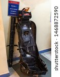 Small photo of Vasco da Gama, Goa, India - 03/09/2019: close up of fighter aircraft ejection seat exterior frame after successful operation in december 1999 and safe evacuation of a pilot.Naval Aviation Museum