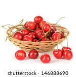 cherry berries in wicker basket ... | Shutterstock . vector #146888690
