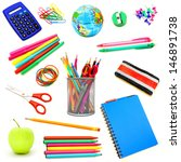 assortment of school supplies... | Shutterstock . vector #146891738