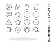 simple icon set in trendy flat...