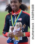 Small photo of DONETSK, UKRAINE - JULY 13: Olivia Baker of USA win silver in 400 metres during 8th IAAF World Youth Championships in Donetsk, Ukraine on July 13, 2013