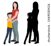 silhouette and flat style mom... | Shutterstock .eps vector #1469030426