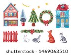 Stock photo large watercolor set with christmas houses hares fox cat christmas tree and decorations 1469063510