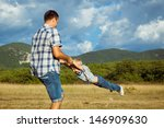 happy father carrying his son... | Shutterstock . vector #146909630