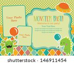 monster party invitation card design with place for photo. vector illustration
