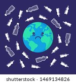 sad earth  surrounded by...   Shutterstock .eps vector #1469134826
