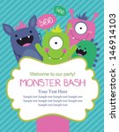monster party card design.... | Shutterstock .eps vector #146914103