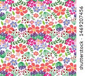 colorful floral seamless... | Shutterstock . vector #1469207456