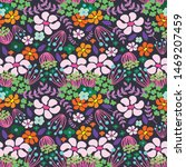 colorful floral seamless... | Shutterstock . vector #1469207459