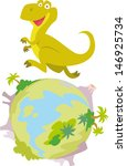 Infantile style illustration of a smiling dinosaur running on a globe full of volcanoes and palm trees, no outline and white background.