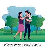 parents couple with little son... | Shutterstock .eps vector #1469283539