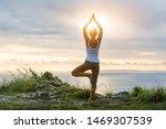 Caucasian Woman Practicing Yoga ...