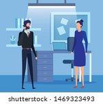 elegant business couple using... | Shutterstock .eps vector #1469323493