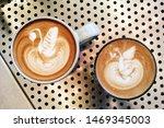 top view of cafe latte   latte... | Shutterstock . vector #1469345003