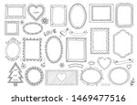 set of doodle double frames and ... | Shutterstock . vector #1469477516