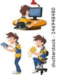 cartoon man using computer and...
