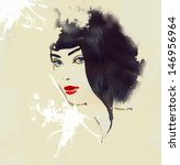 woman face. hand painted... | Shutterstock . vector #146956964