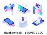 isometric online cashier. cash... | Shutterstock .eps vector #1469571320