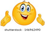 emoticon presenting with his... | Shutterstock .eps vector #146962490