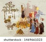 medieval scene. inquisition.... | Shutterstock .eps vector #1469661023