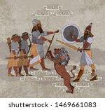 Sumerian civilization. King, lion and warrior. Akkadian Empire. Mesopotamia. Gilgamesh legends. Hunting scene. Middle East history. Ancient culture art