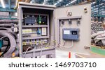 Power electricity control panel on factory site, Electrical switch cabinet, Main substation with breaker to control automatic system of machine  - stock photo