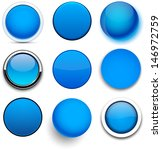 set of blank blue round buttons ... | Shutterstock .eps vector #146972759