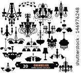 Chandelier silhouette free vector art 9063 free downloads chandelier vector set aloadofball Gallery