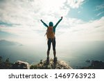Successful Hiker Outstretched...